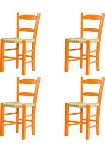 Kit 4 Cadeiras Lagiana Pequenas Eucalipto Laranja Assento Palha - 59471 - Sun House