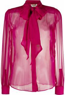 Saint Laurent Blusa Translúcida Com Laço - Rosa