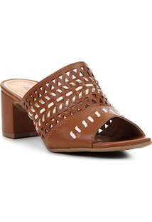 Sandália Shoestock Salto Grosso Laser Feminina - Feminino-Caramelo