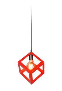 Pendente De Ferro Para 1 Lâmpada E27 19X19Cm D18H120 Vermelho Ol