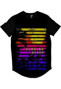 Camiseta Longline Long Beach Coleção Praias Florida Beach Sublimada Preto