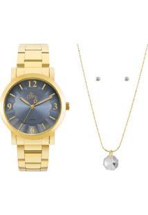 R  229,90. Zattini Relógio Allora Feminino Textura Azul Dourado Kit ... 4a8bdad118