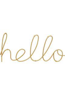 Palavra Hello Decorativa Dourada13X30 Cm