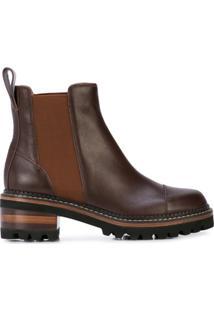 See By Chloé Ankle Boot Com Detalhe De Costura E Salto 130Mm - Marrom