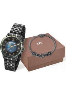 Relógio Mondaine 3K8 + Pulseira Feminino - Feminino-Preto