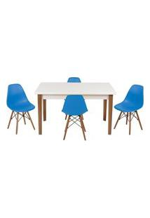 Conjunto Mesa De Jantar Luiza 135Cm Branca Com 4 Cadeiras Eames Eiffel - Turquesa