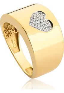 Anel De Ouro 18K Largo Com Coração De Diamantes-Coleção My Heart
