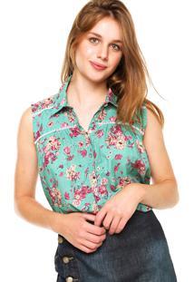 Camisa Malwee Floral Verde