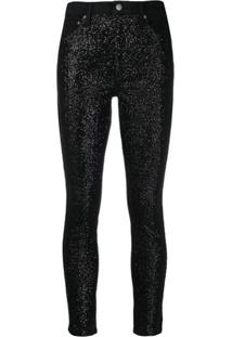 Alice+Olivia Crystal Embellished Skinny Jeans - Preto