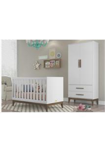 Conjunto Infantil Guarda Roupa Nature 02 Portas E Berço Nature Branco Acetinado Com Eco Wood - Matic