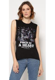 """Blusa """"Pinch Of A Heart""""- Preta & Off White- Sommersommer"""