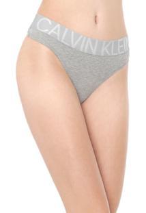 Calcinha Calvin Klein Underwear Fio Dental Statement Cinza