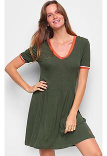 Vestido Cantão Curto Prega Punho Bicolor - Feminino-Verde Escuro