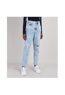 Calça Jeans Feminina Mom Marmorizada Cintura Alta Destroyed Azul Claro