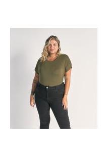 Blusa Sem Cava Básica Curve E Plus Size Verde
