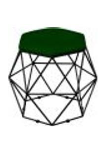 Puff Decorativo Aramado Preto Six L02 Suede Verde Musgo - Lyam Decor