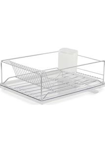 Escorredor Louça Dry C/ Bandeja Coletora - Forma Inox - Transparente