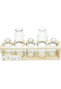 Vaso De Vidro E Madeira Five Bottles Urban Home