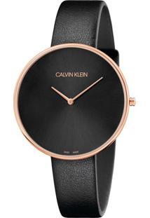 Relógio Calvin Klein Feminino Em Couro Preto