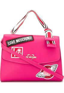 Love Moschino Bolsa Tote Com Aplicação De Logo - Rosa