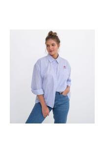 Camisa Oversized Em Tricoline Com Bordado | Disney | Branco | P