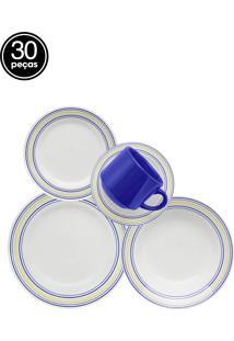 Aparelho De Jantar E Chá Oxford Biona Donna Elis 30 Peças Azul.