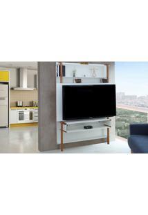 Painel Tv Quarto Branco Home Suspenso Para Tv Até 60 Polegadas Com Rack Karl Woodinn - 134X25,5X180 Cm