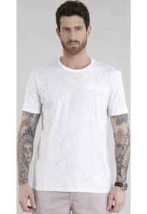 Camiseta Estampada De Folhagem Com Bolso Branca
