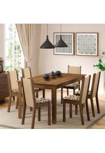 Sala De Jantar Miriam 1,36M Com 6 Cadeiras Rústico/ Crema/ Floral