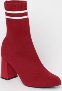 Bota Canelada Listrada- Vermelha & Branca- Salto: 8,Mya Haas