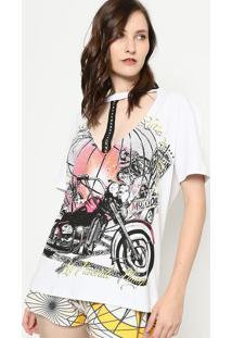 Camiseta Com Tira & Vazado - Branca & Preta - My Favmy Favorite Things