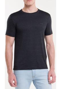Camiseta Slim Listras Viscose - Preto - Pp