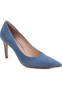 Scarpin Couro Shoestock Salto Alto Graciela Nobuck - Feminino-Azul