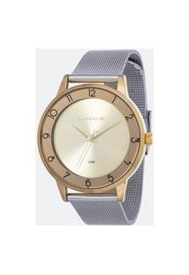 Kit Relógio Feminino Lince Lrt4598L-Kw29C2Sx Analógico 5Atm + Pulseira | Lince | Champagne | U