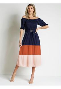 Vestido Tricolor Com Fivela Moda Evangélica