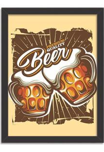 Quadro Decorativo Retrô Premium Quality Beer Preto - Médio