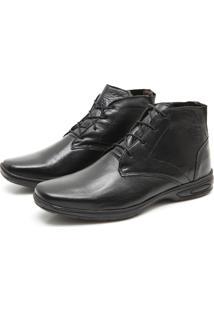 Sapato Abotinado Torani Couro Comfort Preto