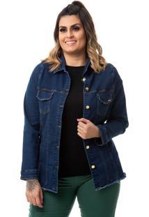 Jaqueta Jeans Feminina Barra Desfiada Plus Size - Kanui