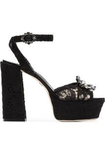 Dolce & Gabbana Sandália Plataforma 'Keira 120' De Renda - Preto
