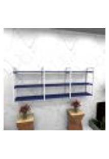 Estante Estilo Industrial Sala Aço Cor Branco 180X30X68Cm (C)X(L)X(A) Cor Mdf Azul Modelo Ind35Azsl