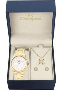 Kit Relógio Champion Analógico Cn25289W Feminino - Feminino-Dourado