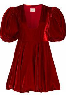 Khaite Vestido Leona De Veludo Com Mangas Bufantes - Vermelho