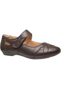 Sapatilha Couro 1298 Doctor Shoes Feminina - Feminino-Marrom