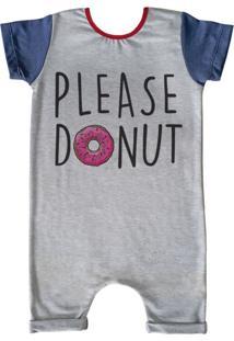 Pijama Curto Comfy Please Donut Cinza