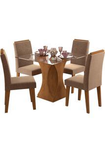 Conjunto De Mesa Para Sala De Jantar Andreia Com 4 Cadeiras Tais-Cimol - Savana / Pluma