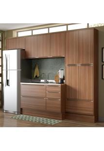 Cozinha Compacta 11 Portas 3 Gavetas 5458R Nogueira/Malt - Multimóveis