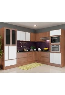 Cozinha Com Tampo 15 Peças 5461Rmf Calábria - Multimóveis - Nogueira / Branco