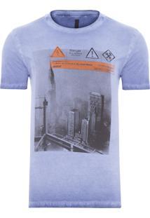 Camiseta Masculina Dupla Face Laterais - Azul