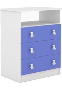 Cômoda Nino 3 Gv Branco E Azul