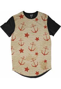 Camiseta Longline Long Beach Náutica Âncoras E Estrelas Sublimada Laranja